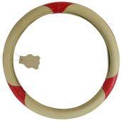 Κάλυμμα Τιμονιού Δερμάτινο Μπεζ - Κοκκινο 12168 OEM